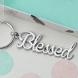 FashionCraft 'Blessed' Theme Silver-Colored Metal Key Chain