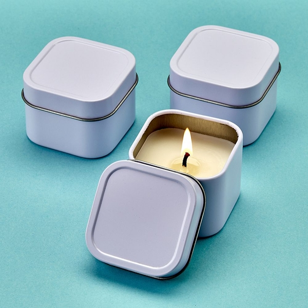 FashionCraft Perfectly Plain Collection White Travel Candle Tin