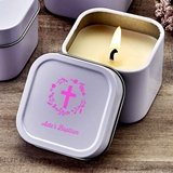 Personalized Screen-Printed Scented Travel Candle Tin (Religious)