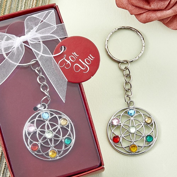 FashionCraft Silver-Metal Chakra Key Chain with Lotus Cutout Design