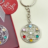 FashionCraft Silver-Metal Chakra Key Chain with Lotus Cutout Design