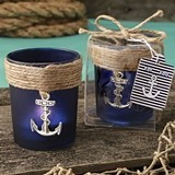 FashionCraft Navy Blue Frosted Glass Votive Holder with Anchor Charm
