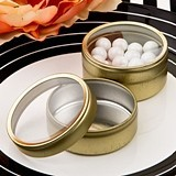 Perfectly Plain Collection Round Gold-Metal Mint Tin with Clear Top