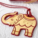 FashionCraft Ruby Red and Cream Elephant-Shaped Rubber Luggage Tag