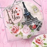 FashionCraft Paris-Theme Eiffel Tower Motif Leatherette Compact Mirror