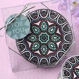 FashionCraft Geometric Mandala Design Leatherette Compact Mirror