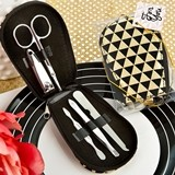 FashionCraft Modern Geometric Design Shiny Black and Gold Manicure Set