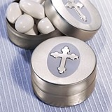 FashionCraft Silver Cross Design Round Mint Tin