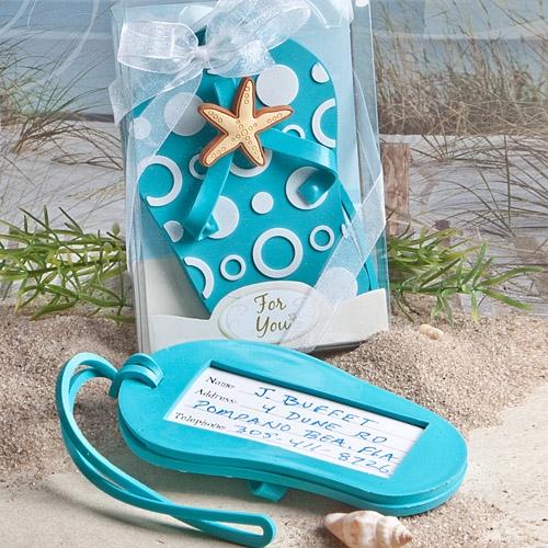 FashionCraft Aqua Blue Flip-Flop-Shaped Luggage Tag