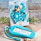 FashionCraft Aqua Blue Flip-Flop-Shaped Luggage Tag