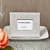 Silver Metallic Place Card Holder/Frame w/ Leatherette Diamond Finish