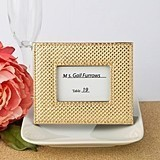 Gold Metallic Place Card Holder/Frame w/ Leatherette Diamond Finish