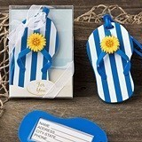 FashionCraft Fun Blue and White Striped Flip-Flop Luggage Tag