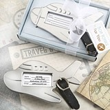 FashionCraft Adorable Silver-Metal Airplane-Shaped Luggage Tag