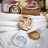Number 50 Design Golden-Handled Bottle Opener Anniversary or Birthday
