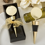Perfectly Plain Collection Gold Metal Wine Bottle Stopper w/ Round Top