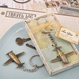 FashionCraft Antiqued Brass Finish Vintage Airplane Design Key Chain