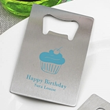 Personalized Birthday Party Stainless-Steel Credit Card Bottle Opener
