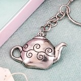 FashionCraft Pewter-Colored-Metal Little Teapot Key Chain