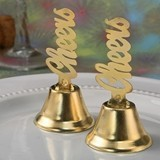 FashionCraft Gold-Finish-Metal Cheers-Topped Kissing Bell