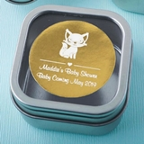 Personalized Metallics Clear-Top Square Mint Tin (Baby Shower)