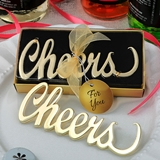 FashionCraft Gold-Finish-Metal Script Cheers Bottle Opener
