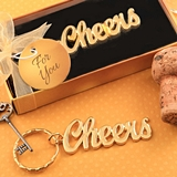 FashionCraft Gold-Finish-Metal Script Cheers Keychain in Gift-Box