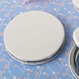 Perfectly Plain Collection White Leatherette Hinged Compact Mirror