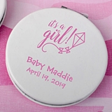 Personalized White Leatherette Hinged Compact Mirror (Baby Shower)