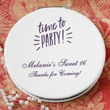 Personalized White Leatherette Hinged Compact Mirror (Birthday)