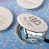 Personalized White Leatherette Hinged Compact Mirror (130 Designs)