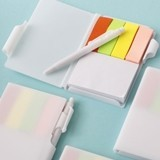 Perfectly Plain Collection White Notebook w/ Pen and Color Sticky Tabs