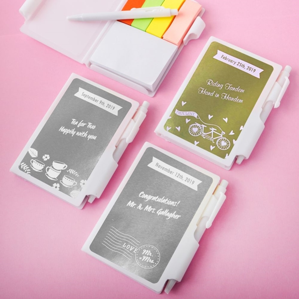 Personalized Metallics Collection White Notebook w/ Pen & Sticky Tabs