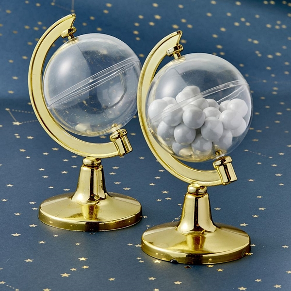 FashionCraft Gold-Accented Mini Globe Favor Container