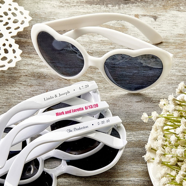 Design Your Own Direct-Screen-Printed Heart-Shaped White Sunglasses
