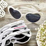 Design Your Own Direct Screen-Printed Heart-Shaped White Sunglasses