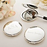 FashionCraft Engravable Silver-Plated Round Compact Mirror