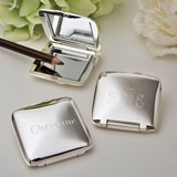 FashionCraft Engravable Silver-Plated Square Compact Mirror