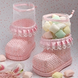 FashionCraft Pink Baby Bootie-Shaped Mesh Favor Bag