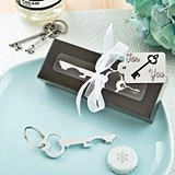 FashionCraft Silvered-Metal Key-Shaped Bottle Opener and Key Ring