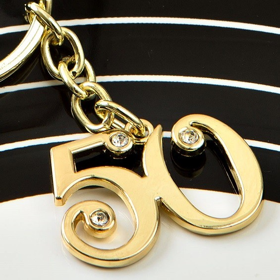 FashionCraft Gold-Colored-Metal 50th Design Key Chain with Rhinestones