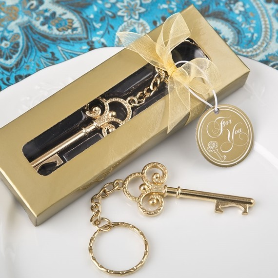 FashionCraft 'Key to My Heart Collection' Gold-Metal Skeleton Keychain