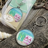 FashionCraft Flip-Flop Design Key Chain with Clear Glass Dome