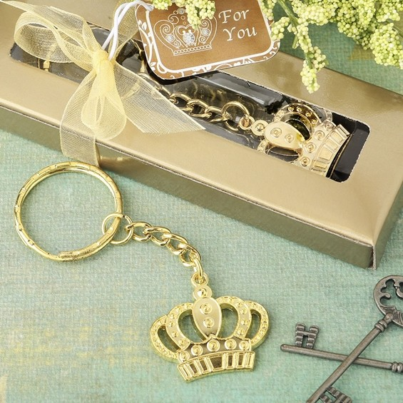 FashionCraft Gold-Colored-Metal Crown Design Key Chain
