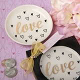 FashionCraft Love and Hearts White Ceramic Jewelry/Change Dish
