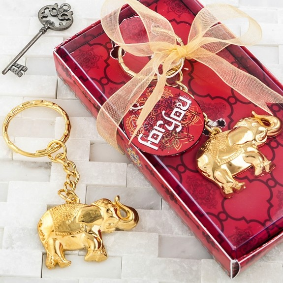 FashionCraft Gold-Colored-Metal 'Good Luck' Elephant Key Chain