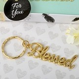 FashionCraft 'Blessed' Theme Gold-Colored Metal Key Chain