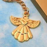 FashionCraft Angel-Themed Gold-Colored-Metal Key Chain