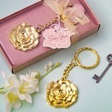 FashionCraft Gold-Colored-Metal Key Chain with Rose Charm