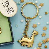 FashionCraft Gold-Colored-Metal Key Chain with Adorable Dinosaur Charm